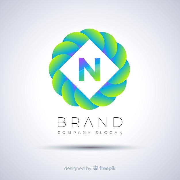 Logotipo esférico de plantilla abstracta gradiente vector gratuito