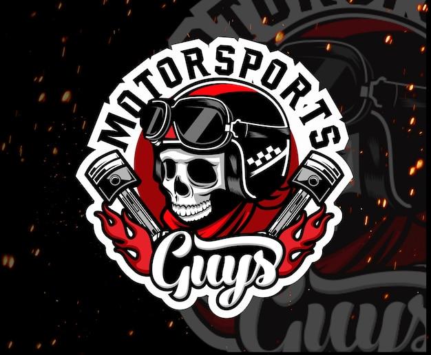 Logotipo de esport de mascota de cráneo de moto Vector Premium