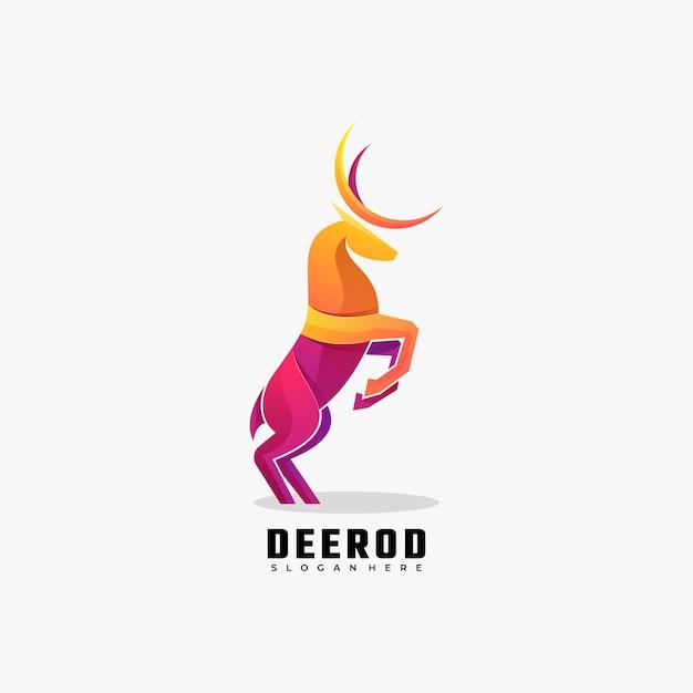 Logotipo de estilo colorido degradado de ciervos. Vector Premium