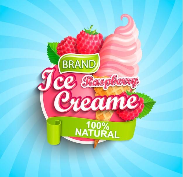 Logotipo, etiqueta o emblema de helado de frambuesa. Vector Premium