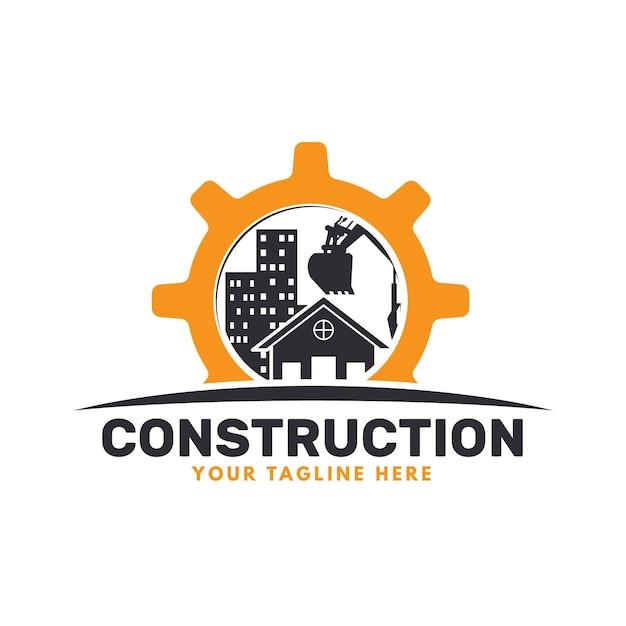 Logotipo de excavadora y construcción con edificios. vector gratuito