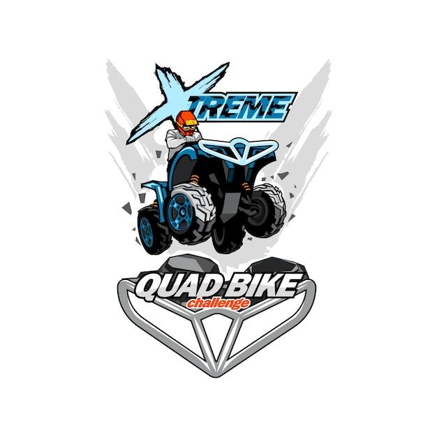 Logotipo de extreme quad bike, fondo aislado. Vector Premium