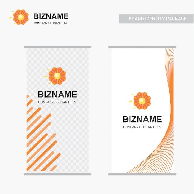 Logotipo de la flor y diseño de stand de negocios vector gratuito