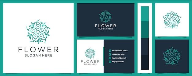 Logotipo de flor de lujo con plantilla de tarjeta de visita Vector Premium