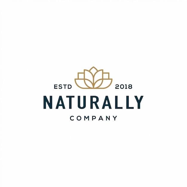 Logotipo de la flor de la naturaleza Vector Premium