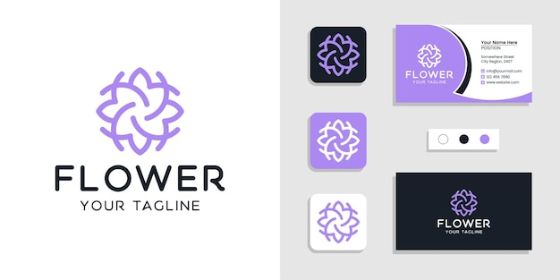 Logotipo floral de flores y plantilla de tarjeta de visita inspirada Vector Premium