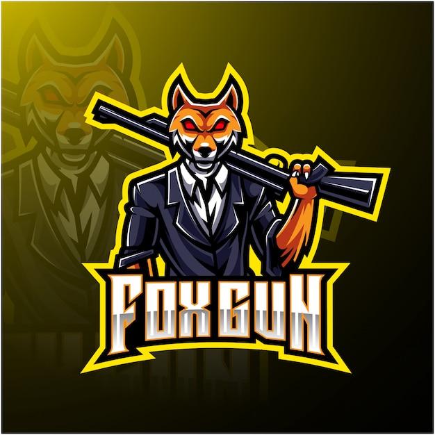 Logotipo de fox gun esport Vector Premium