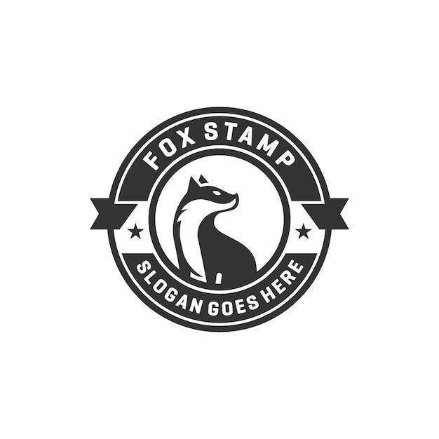 Logotipo de fox stamp emblem Vector Premium