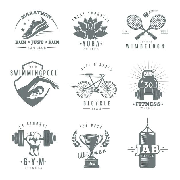 Logotipo de gimnasio de fitness aislado gris con maratón correr club tenis wimbledon jab boxing descripciones vector gratuito