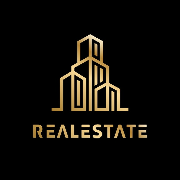 Logotipo de golden golden real estate Vector Premium