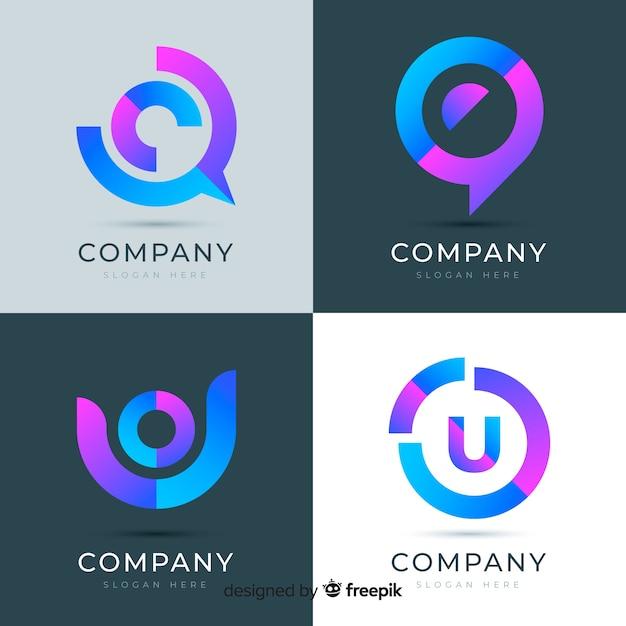 Logotipo gradiente de tecnología vector gratuito