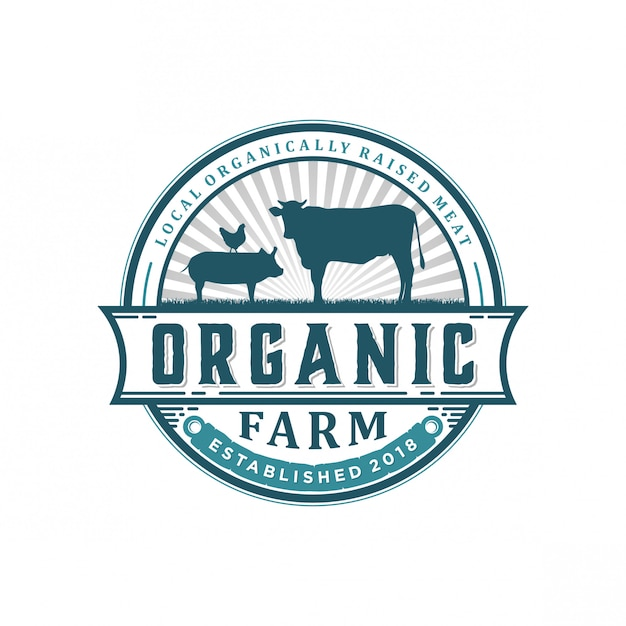 Logotipo de granja orgánica vintage Vector Premium