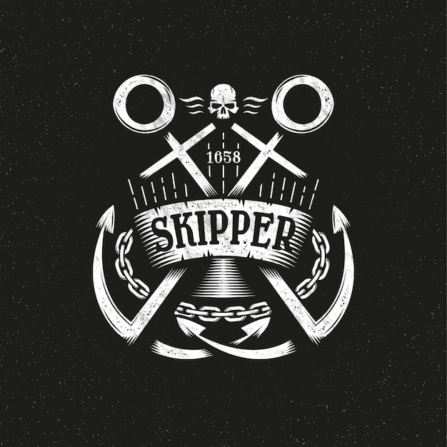 Logotipo de grunge marino con dos anclajes cruzados, cinta y cadena. Vector Premium