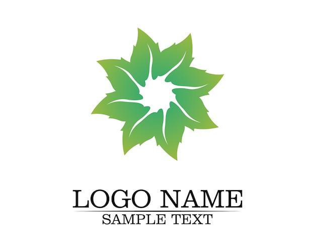 Logotipo de la hoja del árbol, concepto ecológico. Vector Premium