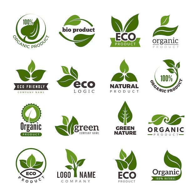 Logotipo de la hoja. bio naturaleza verde eco símbolos plantilla de logotipo empresarial Vector Premium