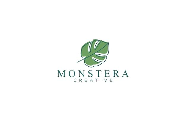 Logotipo de la hoja de monstera Vector Premium