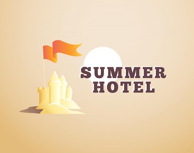 Logotipo del hotel de verano. ilustración. Vector Premium