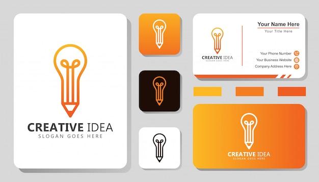 Logotipo de idea creativa moderna, lápiz con logotipo de concepto de bombilla con diseño de tarjeta de visita Vector Premium