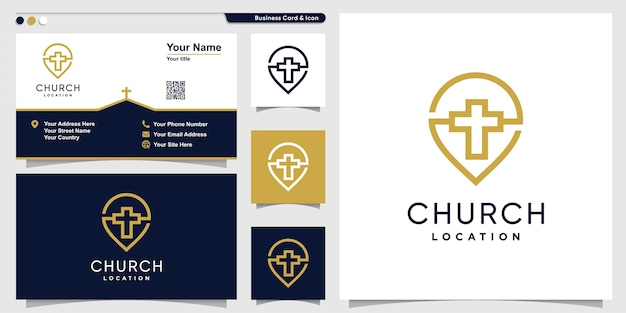 Logotipo de la iglesia con estilo de arte de línea de punto y plantilla de diseño de tarjeta de visita, religión, plantilla Vector Premium