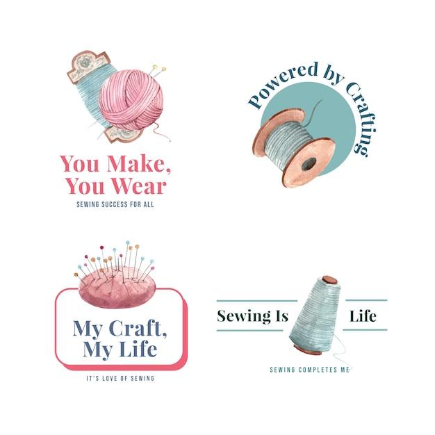 Logotipo con ilustración acuarela de diseño de concepto de costura. vector gratuito