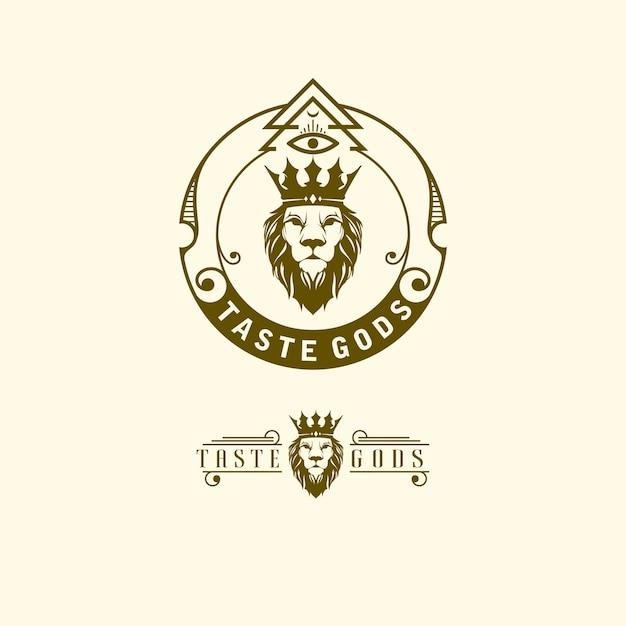 Logotipo de ilustración del rey león Vector Premium