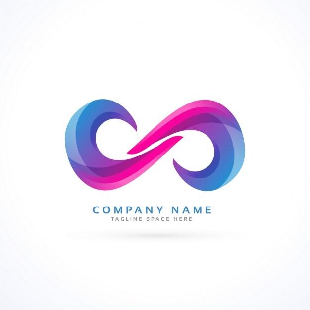 Logotipo con un infinito abstracto vector gratuito