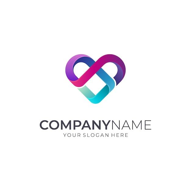 Logotipo de infinity heart / love Vector Premium