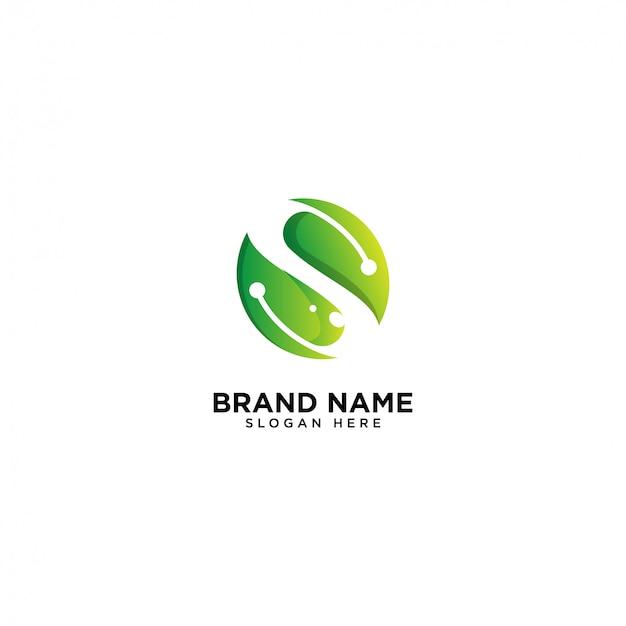 Logotipo inicial de s, hoja y naturaleza Vector Premium