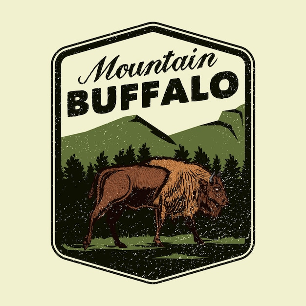 Logotipo de la insignia wild mountain buffalo adventure Vector Premium
