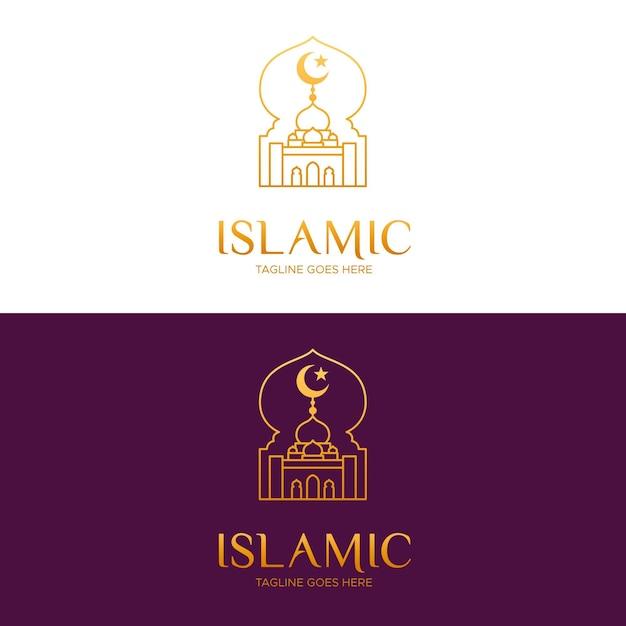 Logotipo islámico en dorado en diferentes orígenes vector gratuito