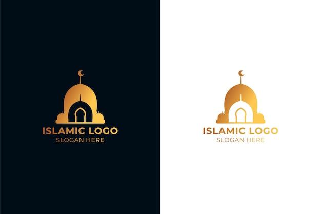 Logotipo islámico dorado en dos colores. Vector Premium