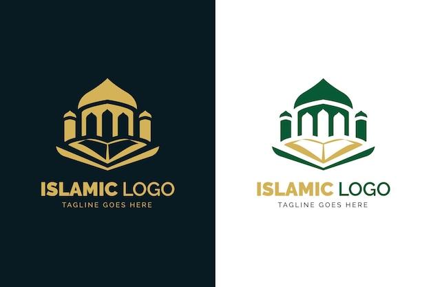 Logotipo islámico en dos colores vector gratuito