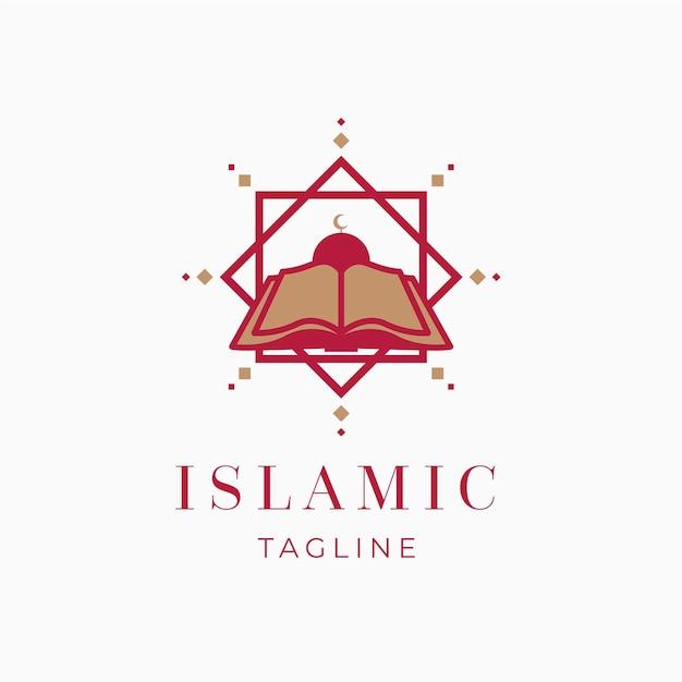 Logotipo islámico con plantilla de libro Vector Premium