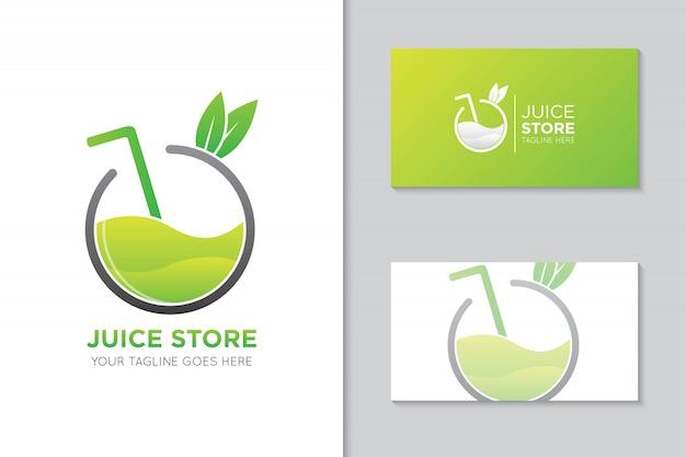 Logotipo de jugo de manzana y plantilla de tarjeta de visita Vector Premium