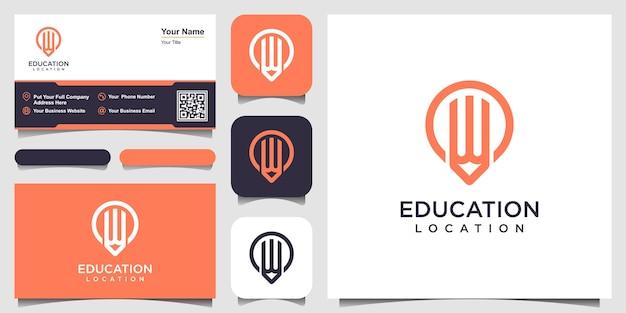 Logotipo de lápiz pin con estilo de arte lineal y diseño de tarjeta de visita Vector Premium