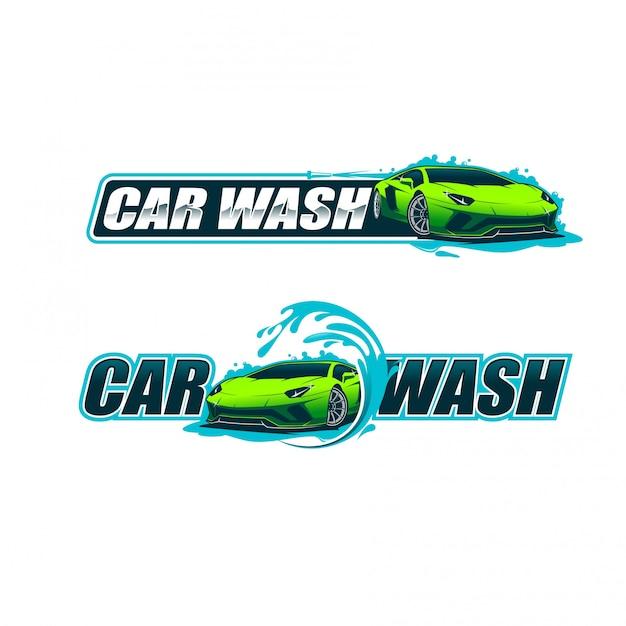 Logotipo de lavado de coches Vector Premium