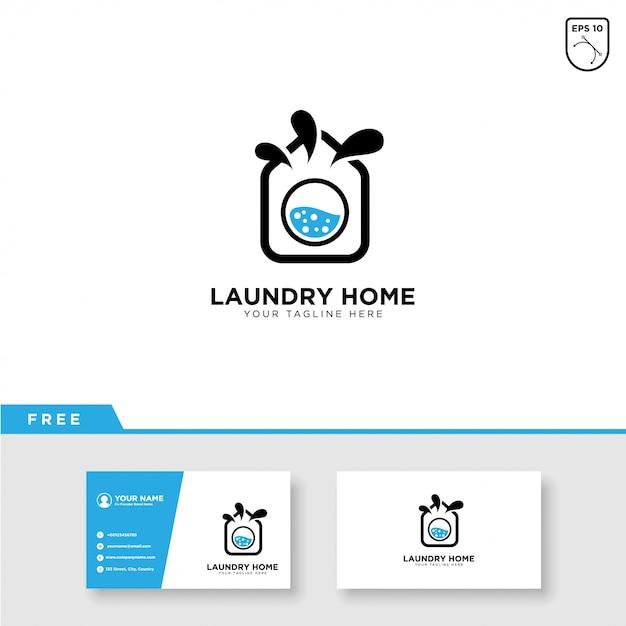 Logotipo de lavandería y plantilla de tarjeta de visita Vector Premium
