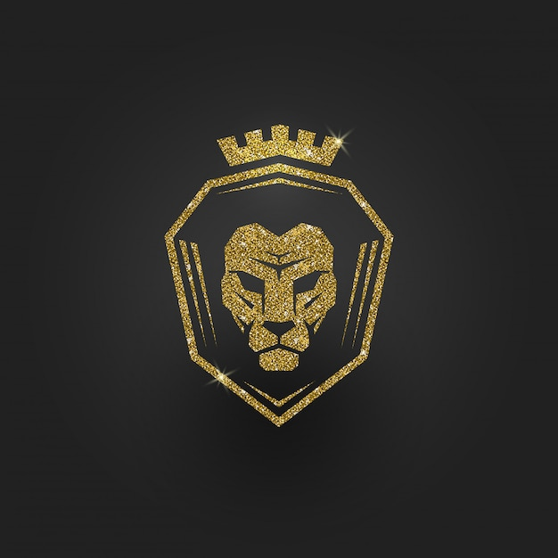 Logotipo de león dorado brillo - ilustración. Vector Premium