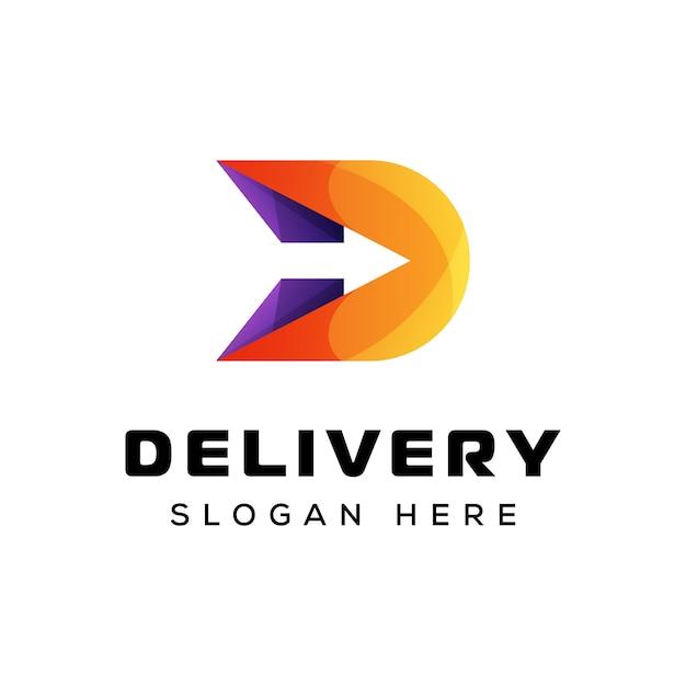 Logotipo de la letra d flecha, plantilla de vector de logotipo de flecha de entrega Vector Premium