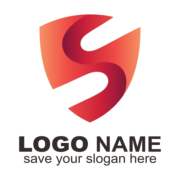 Logotipo de la letra s del escudo creativo. Vector Premium