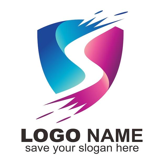 Logotipo de la letra s de protección Vector Premium