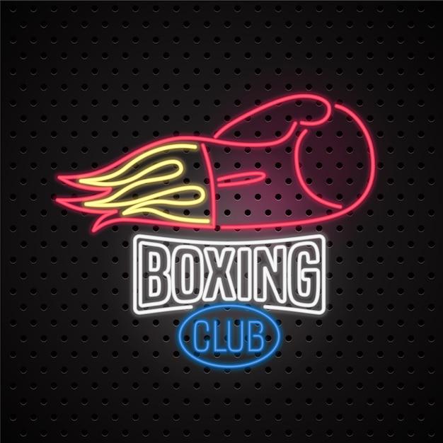 Logotipo de letrero de neón del club de boxeo, icono. elemento de diseño con guantes de boxeo. Vector Premium