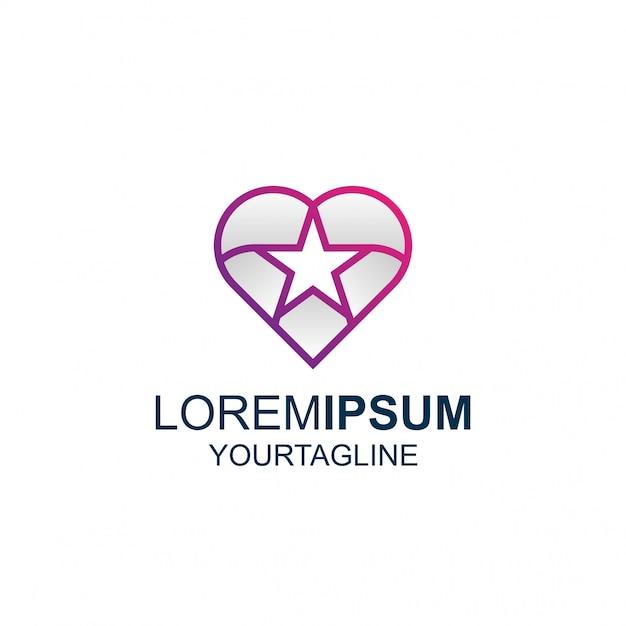 Logotipo de line art star love awesome inspiration Vector Premium