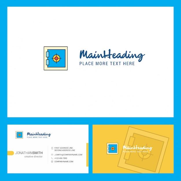 Logotipo de locker con lema y plantilla de tarjeta busienss frontal y posterior. vector gratuito