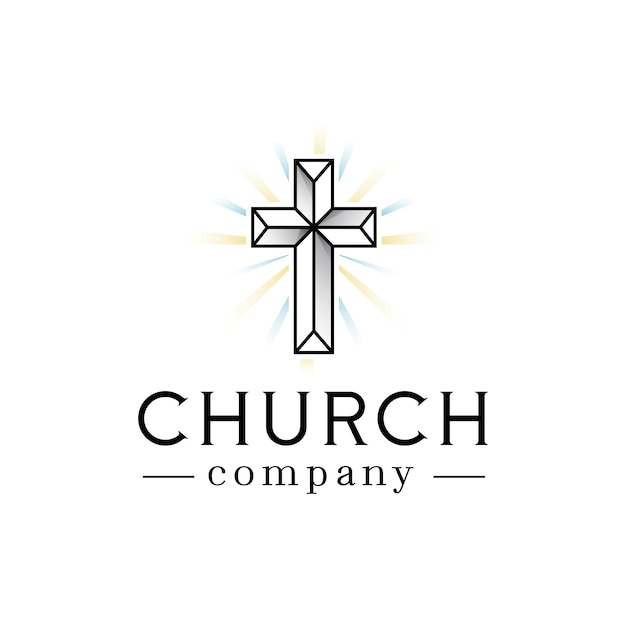 Logotipo de luces de fe de la iglesia Vector Premium