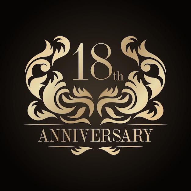 Logotipo de lujo del 18 aniversario vector gratuito