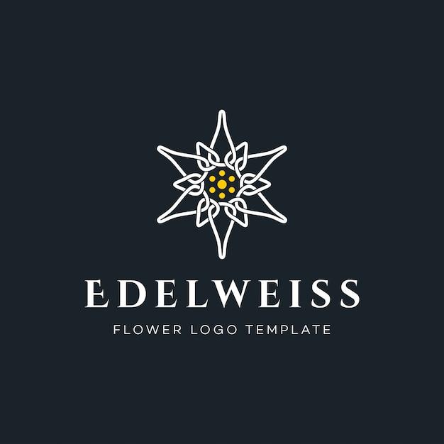 Logotipo de lujo de la flor de edelweiss Vector Premium