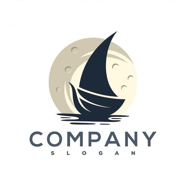 Logotipo de la luna y la nave Vector Premium
