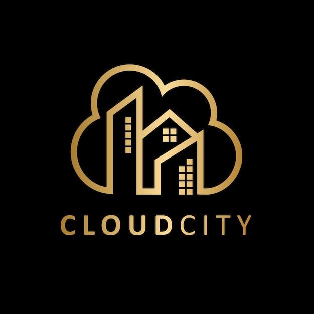 Logotipo de luxury cloud city real estate Vector Premium