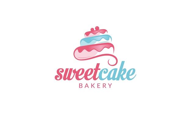 Logotipo de la magdalena logotipo de sweet cake logotipo de la tienda de pasteles logotipo de cake bakery logotipo de vector plantilla Vector Premium
